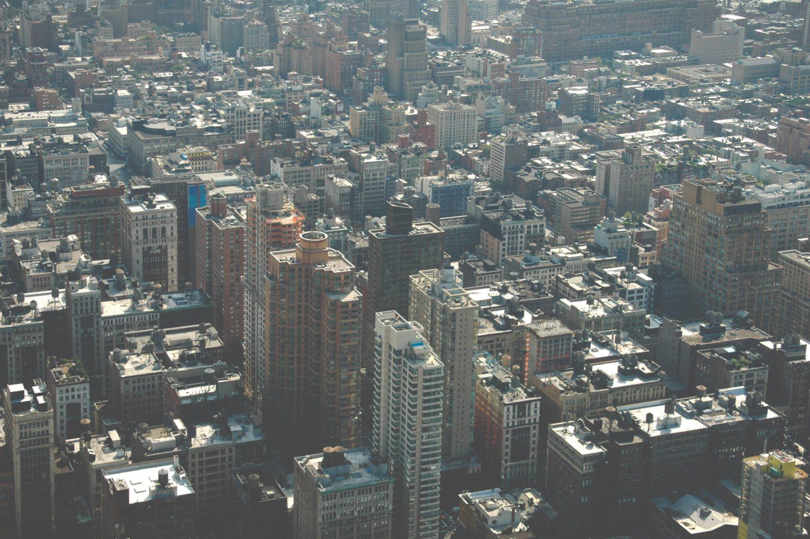 Birds eye view of new York concrete jungle