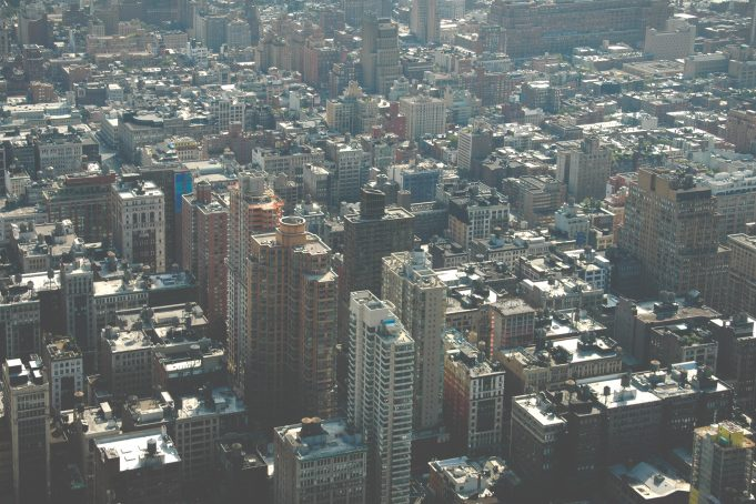 Birds eye view of new York concrete jungle