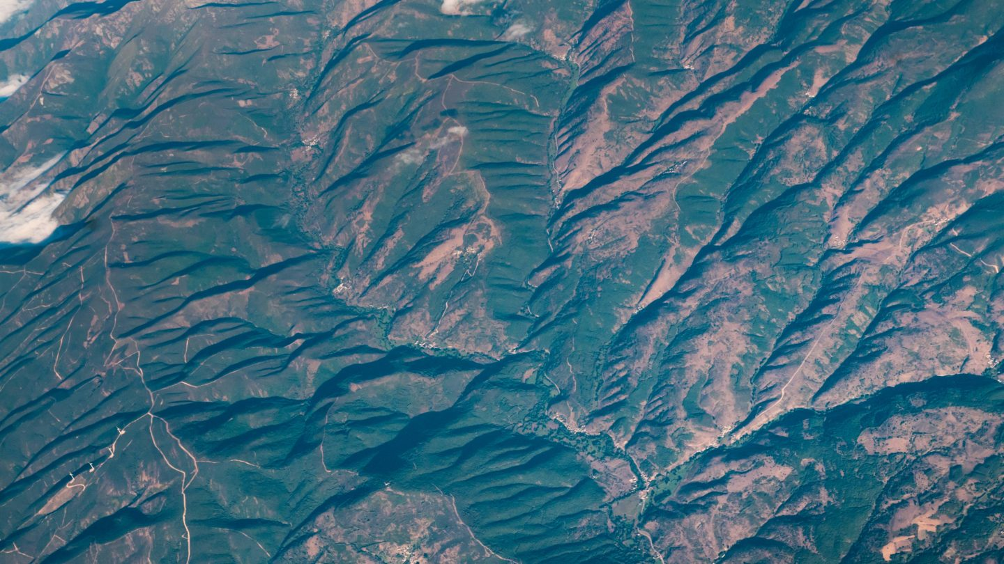 Aerial View Landscape Green Hills Roads and Mountains