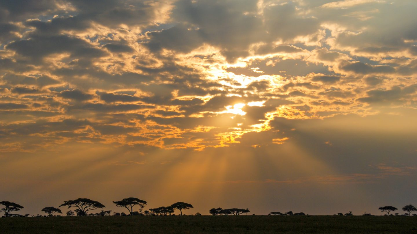 African sunrise beams of light through clouds