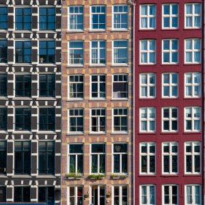 Amsterdam canal houses windows Damrak