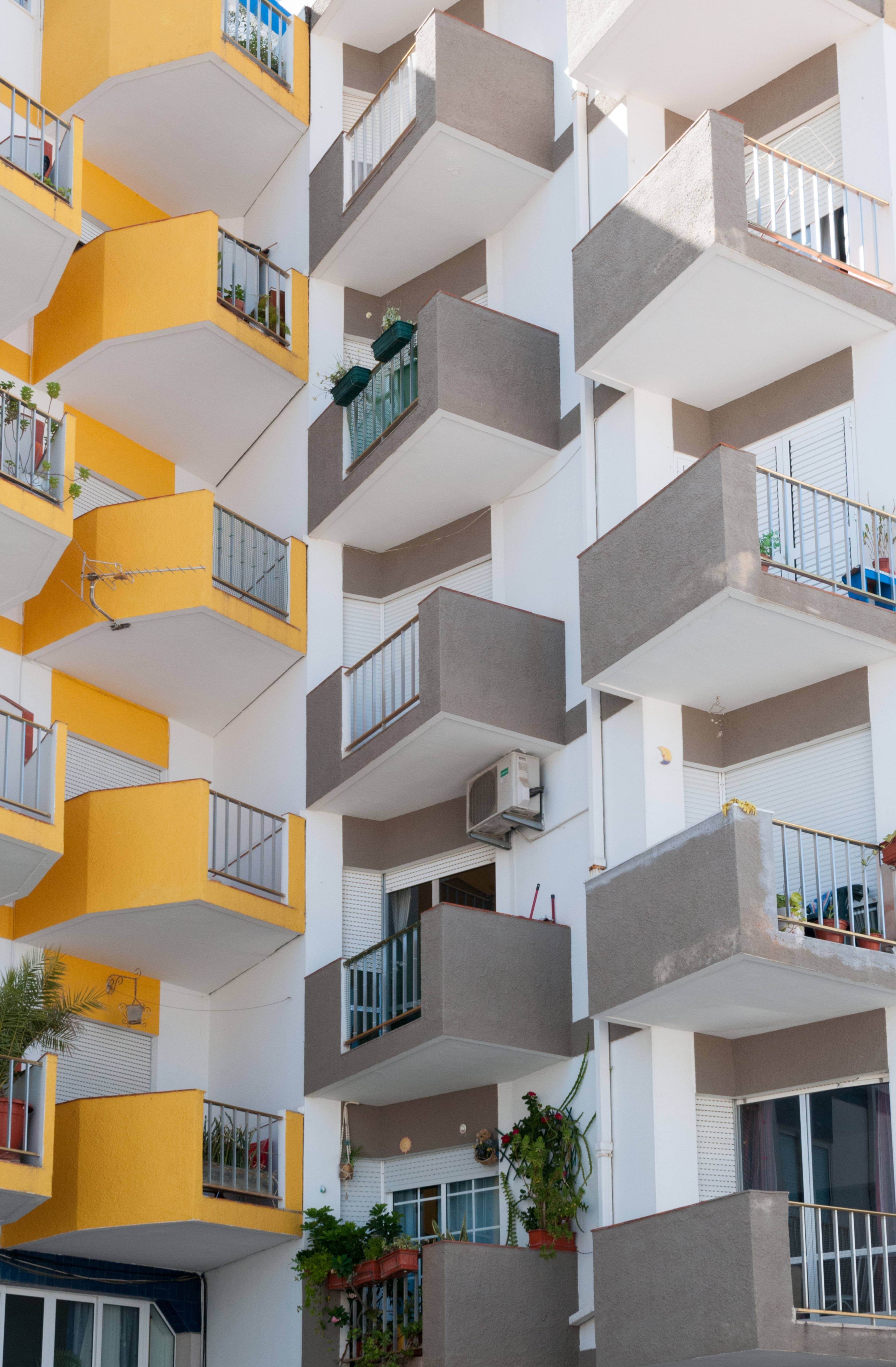 Apartment Building with Small Balconies Pattern