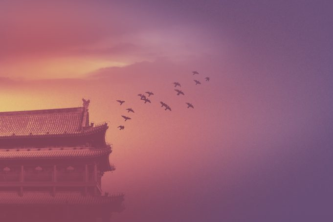 Asian historic building silhouette mystic scene birds