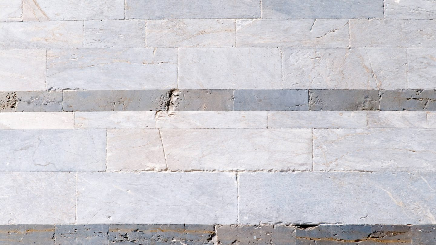 Black and white striped walls of marble