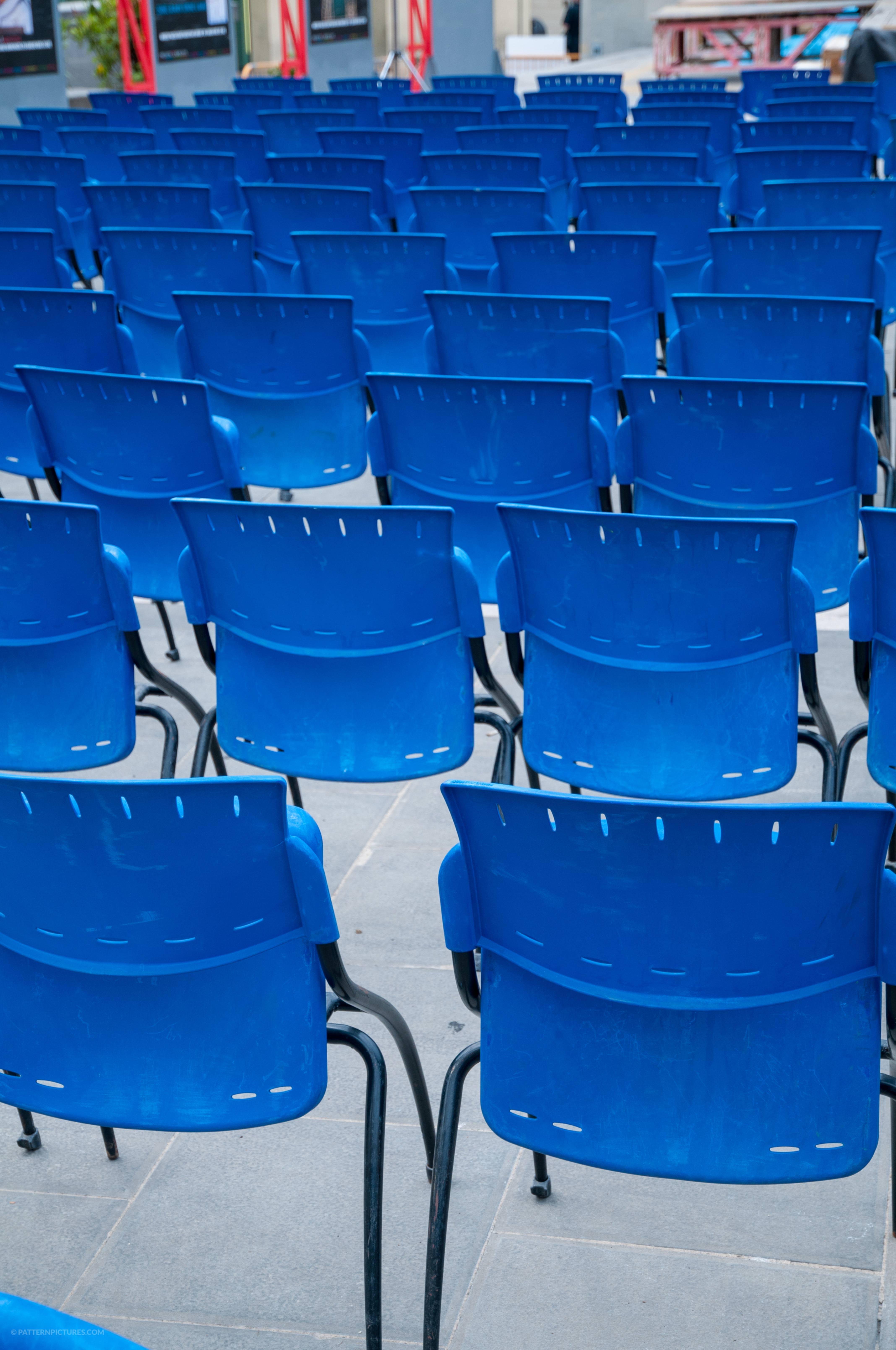 Blue chairs pattern free photo