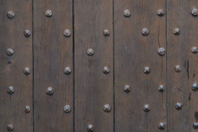 castle wood door iron nails