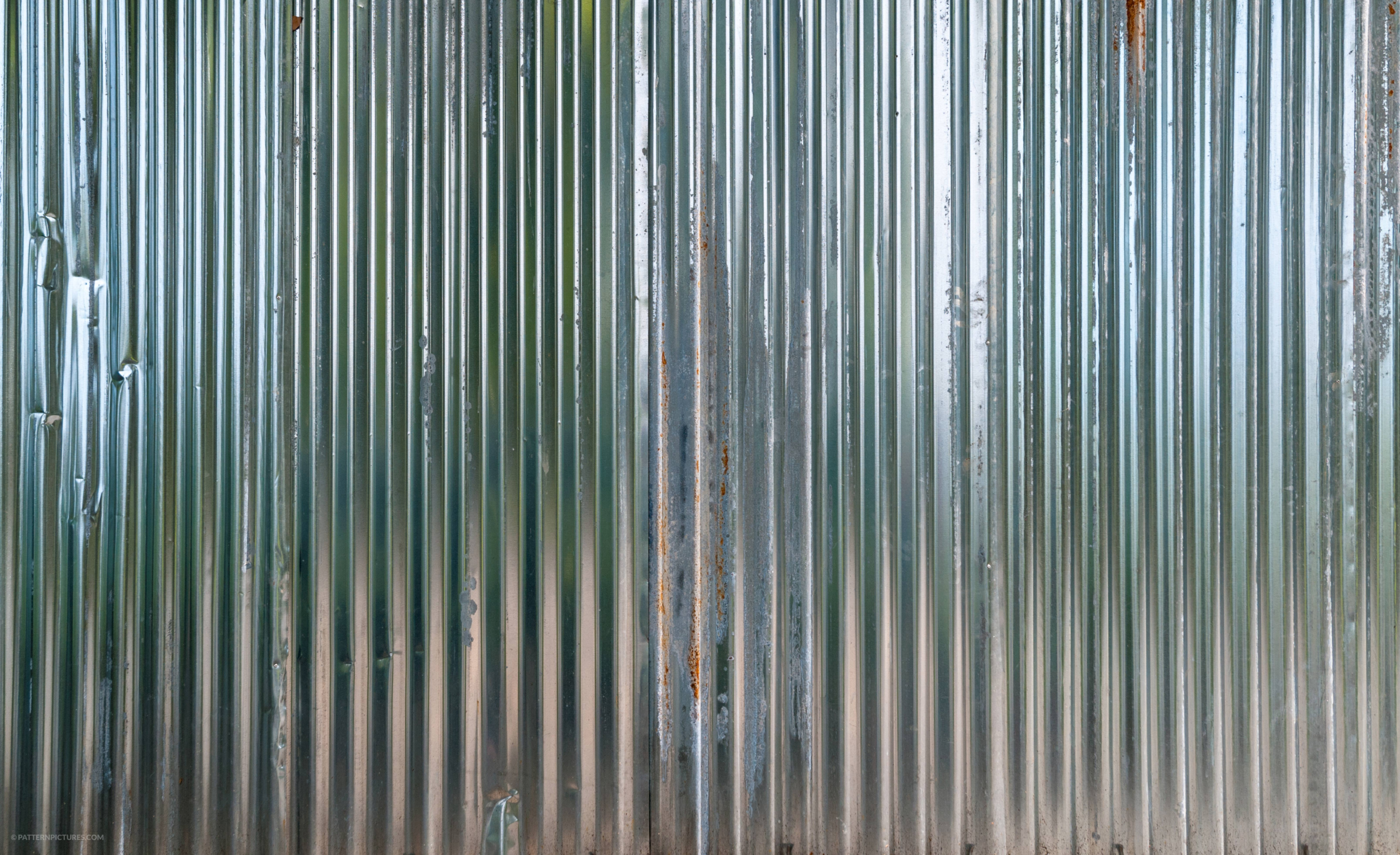 Close-Up Of A Shiny Corregated Steel Wall
