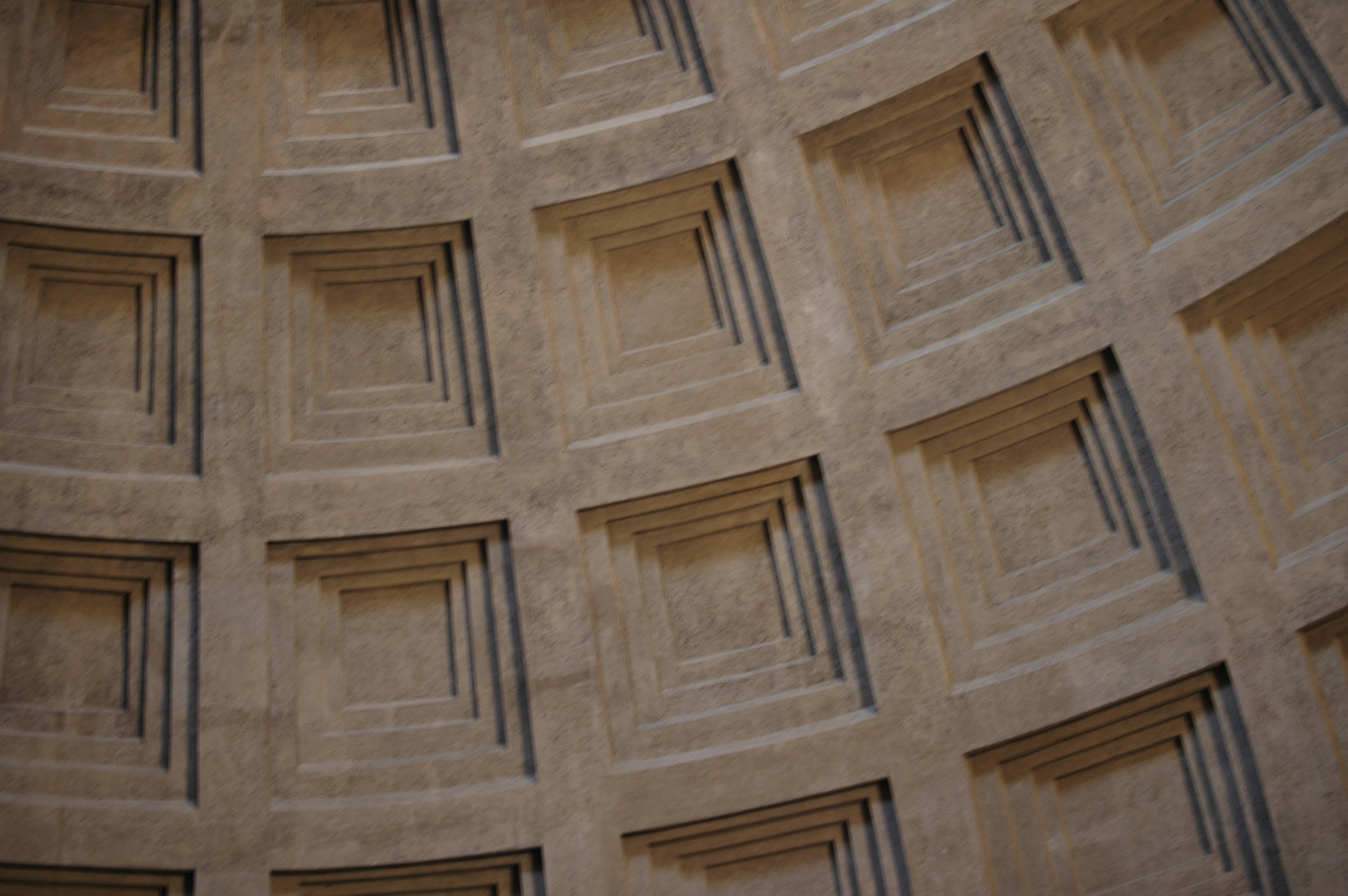 Close-up of Rome Pantheon square tiled dome ceiling