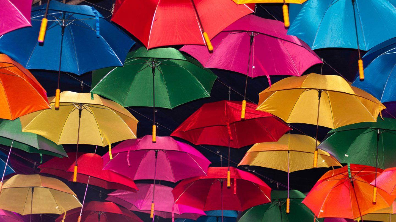 Colorfull umbrellas background ceiling