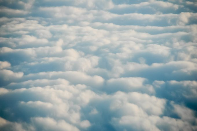 Cottonwool cloudy sky seen from above