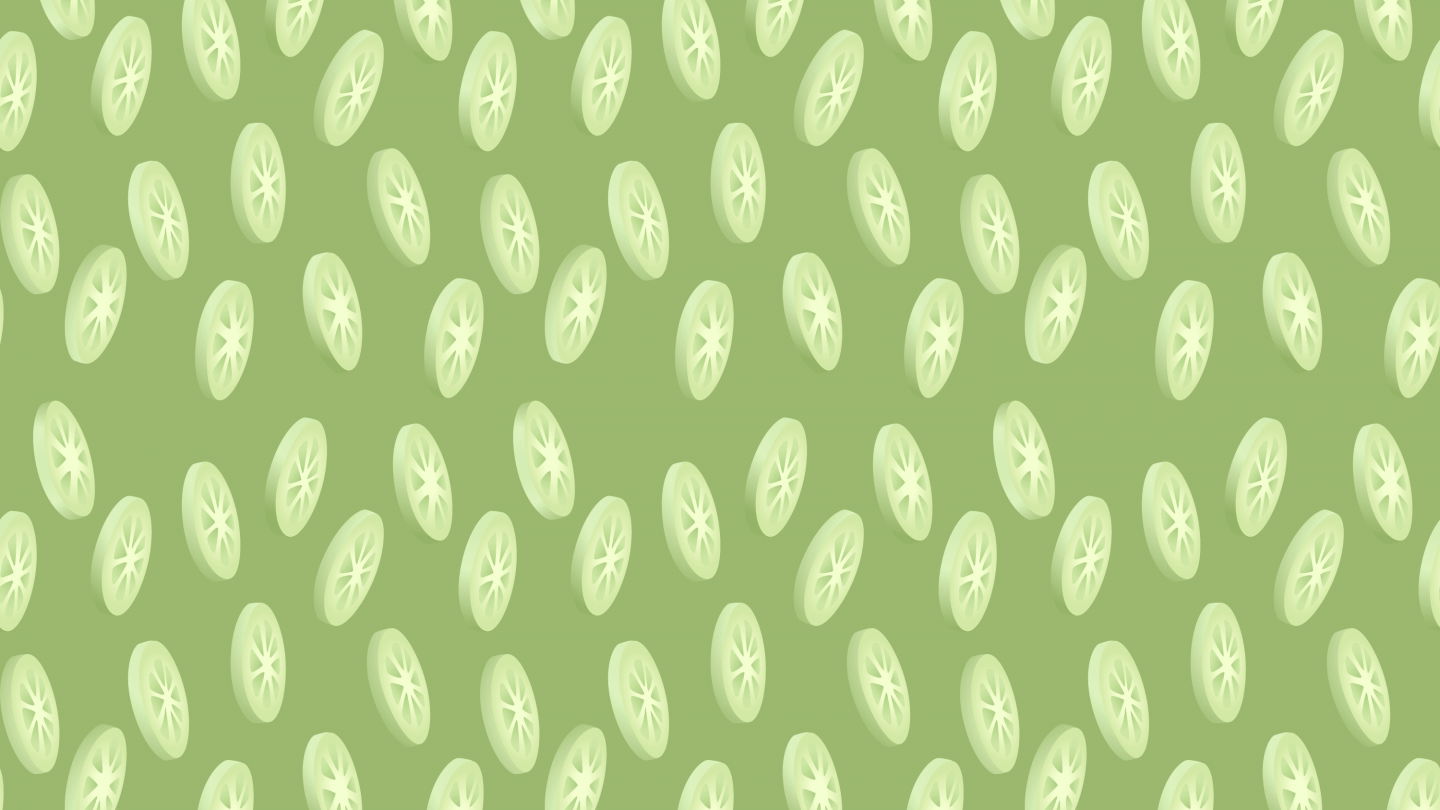 Cucumber slices pattern on green background
