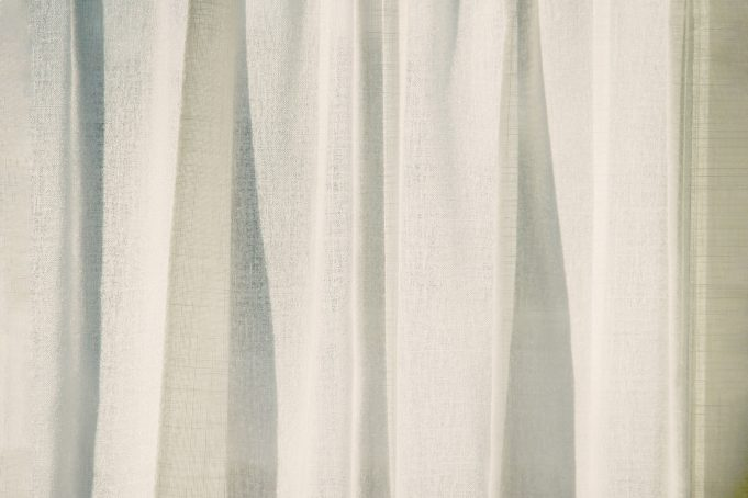 Draped Sunlit Canvas Curtain