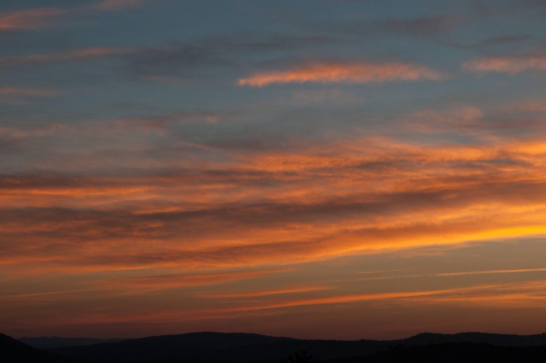 Early morning orange and blue sky sunrise