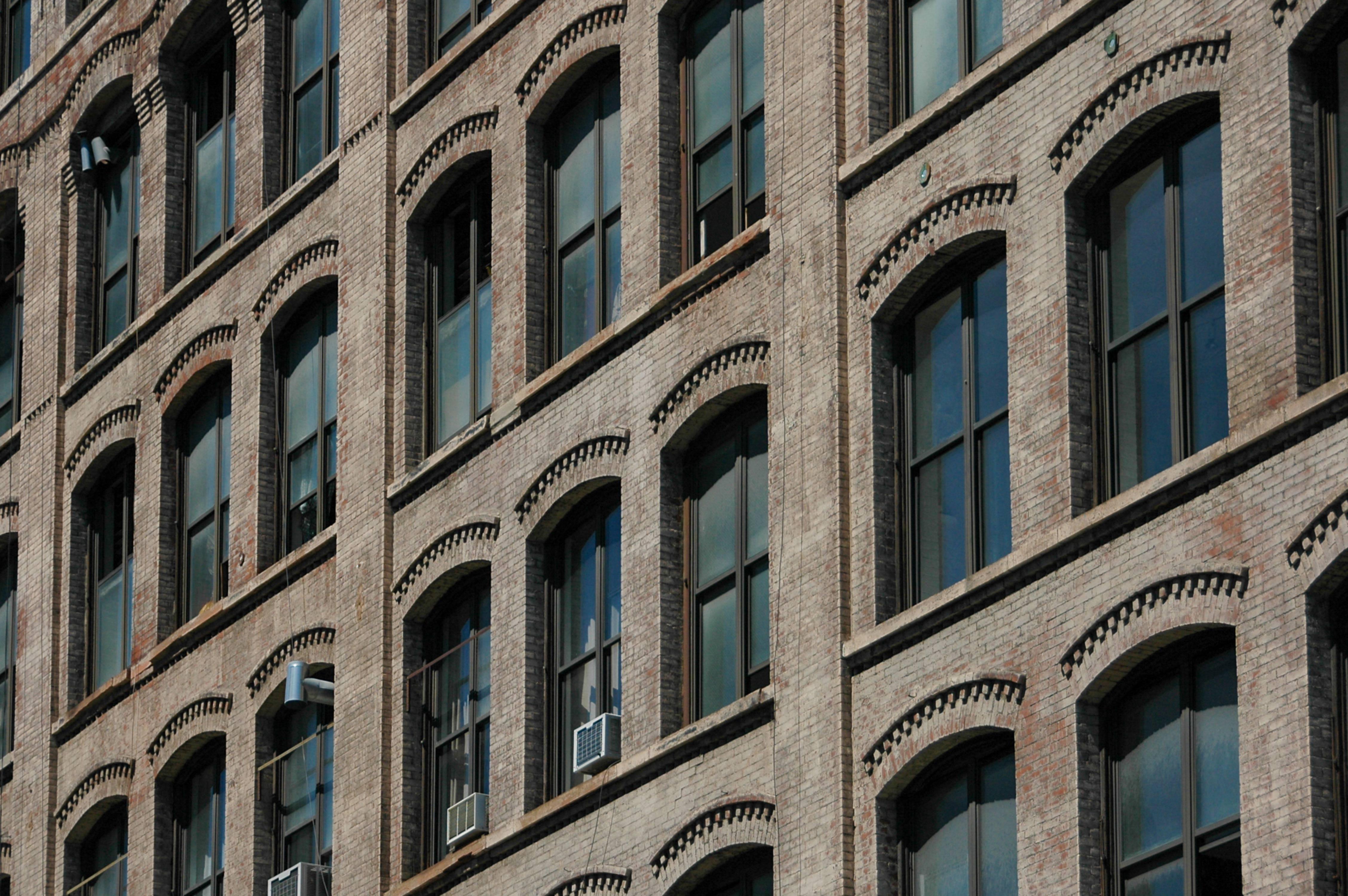 Factory apartment building windows USA