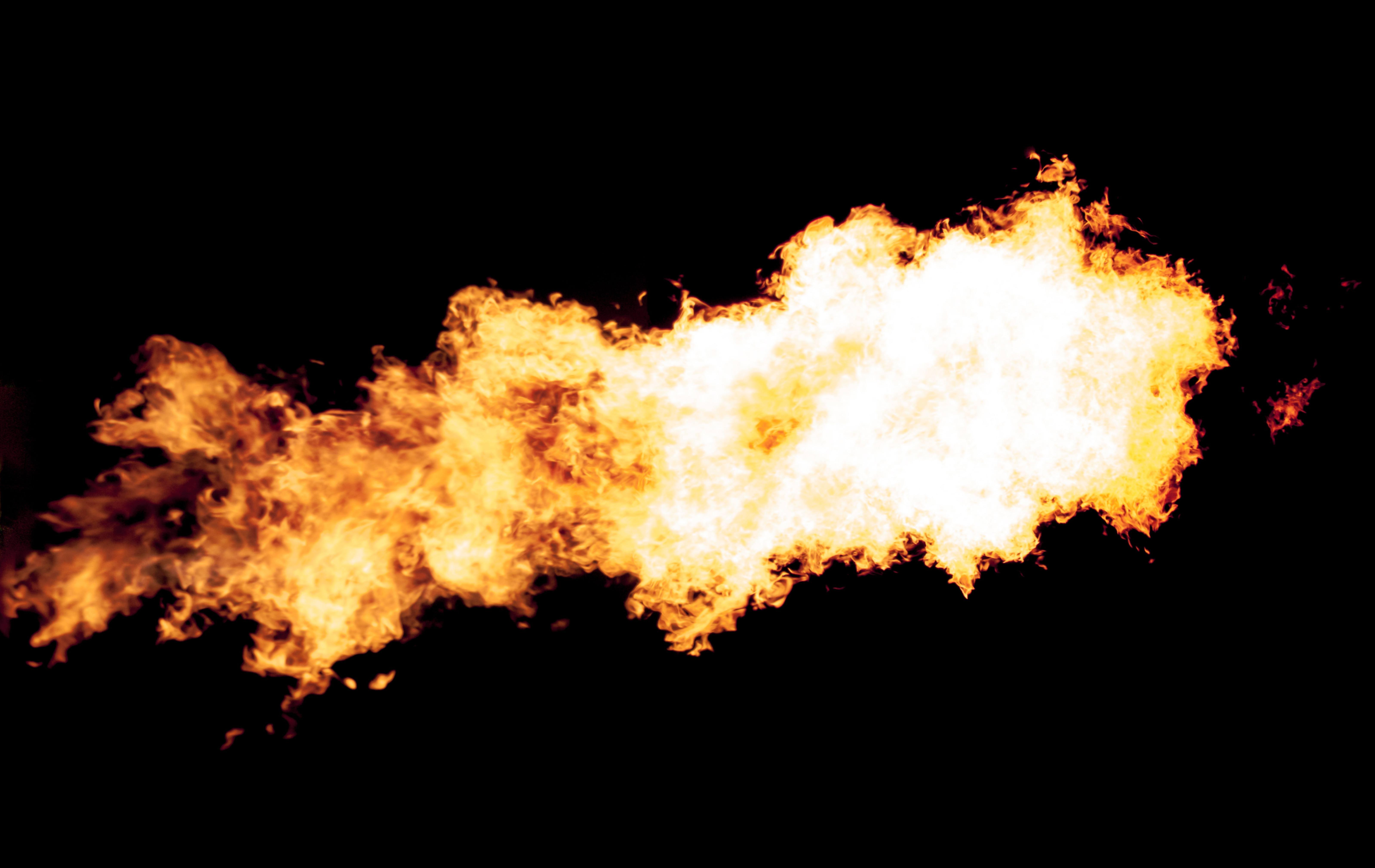 Fire burst on black background