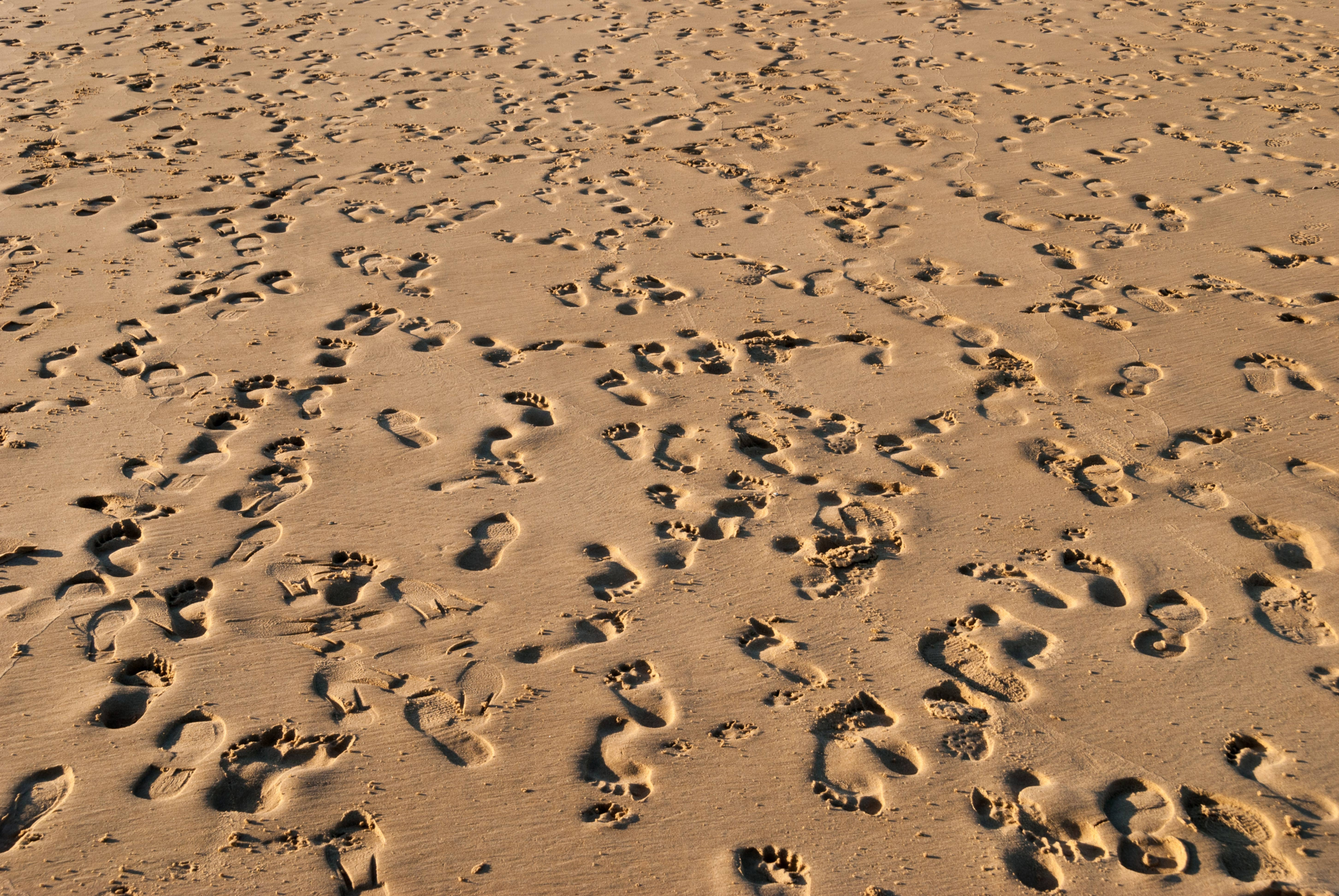 Footprints in the sand beach background texture