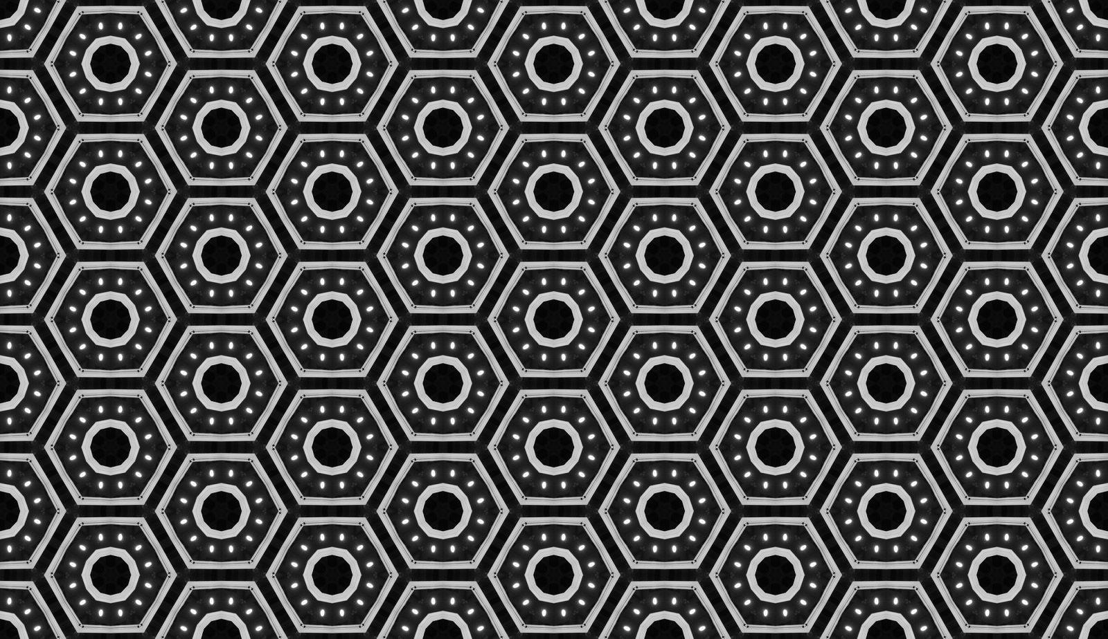 Honeycomb Futuristic Black White Pattern