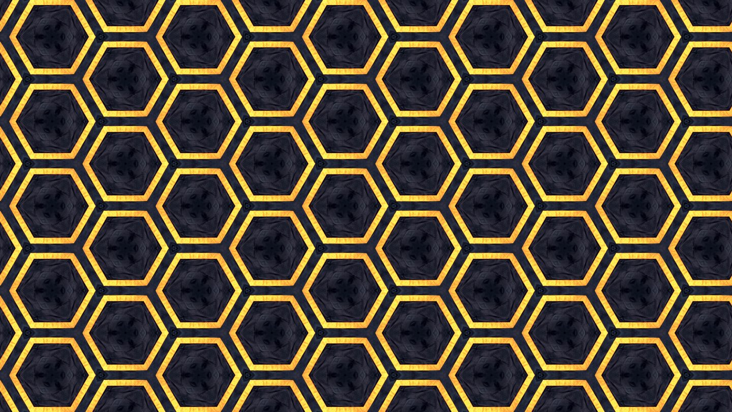 Honeycomb Gold And Blue Background Pattern