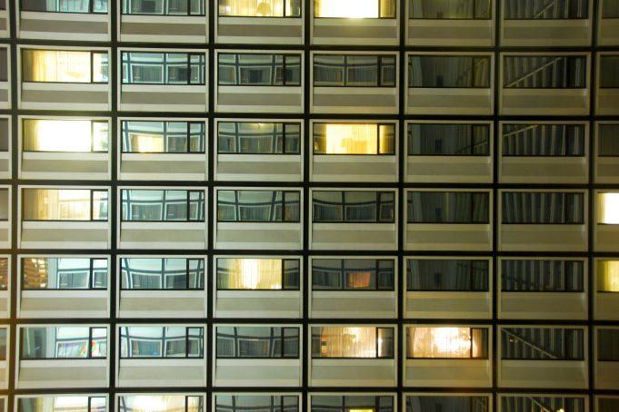 Hotel Windows Lights by Night