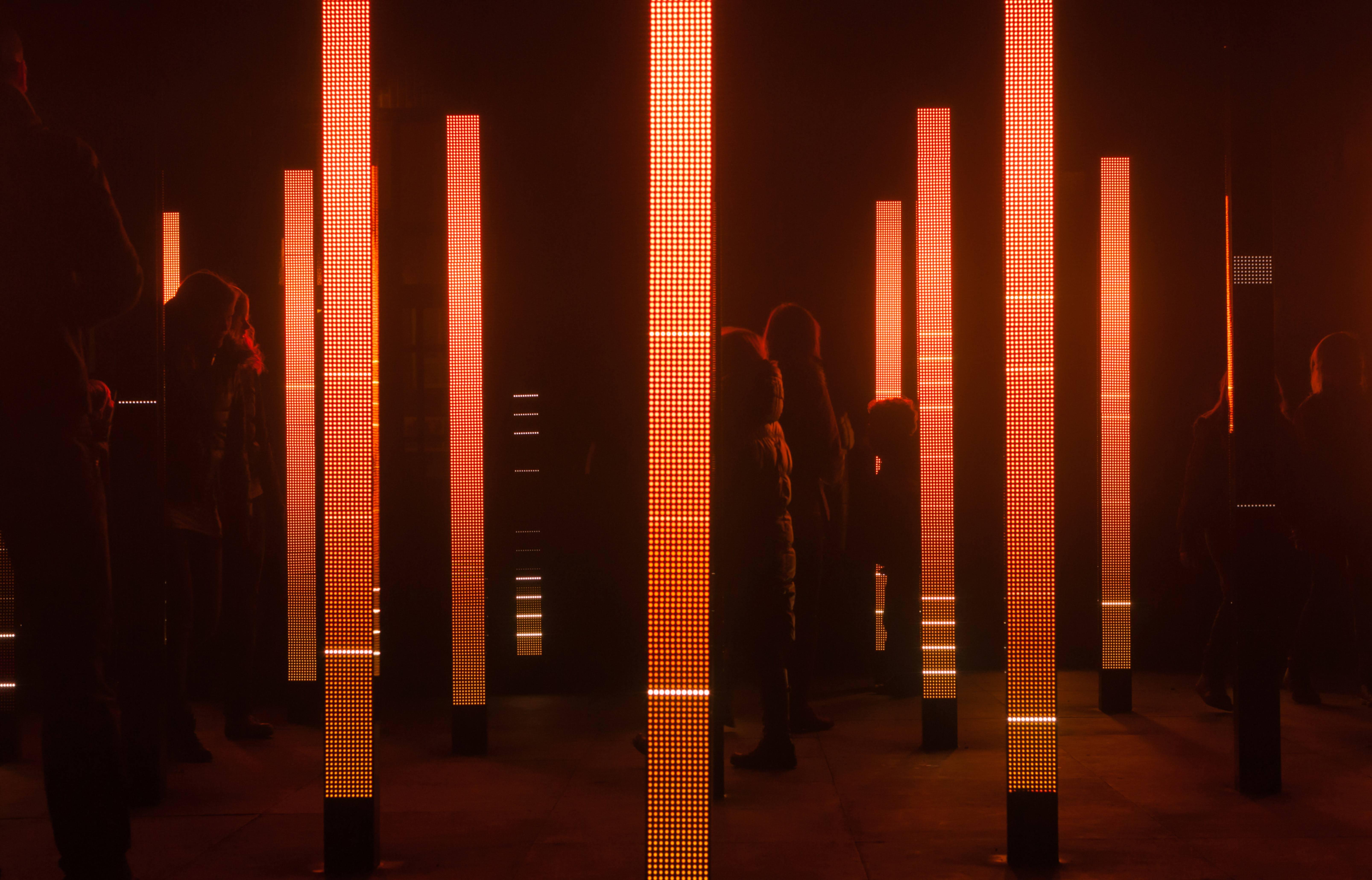 Light art show with colorfull led light pillars