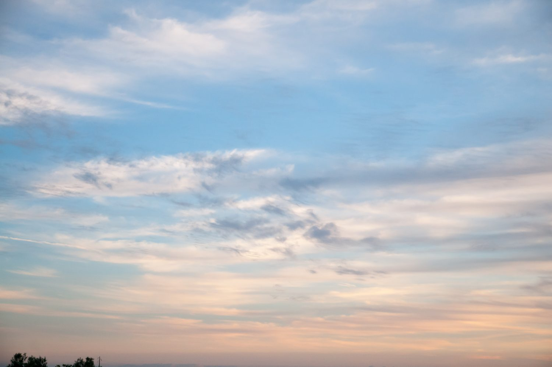 Light blue orange sunset sky