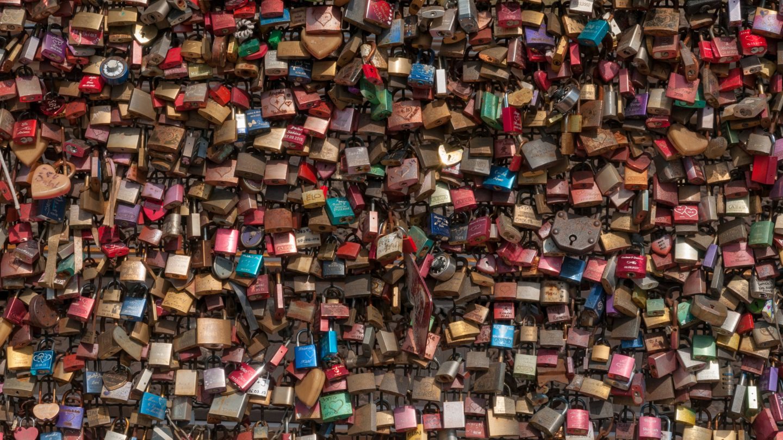 Love locks background texture