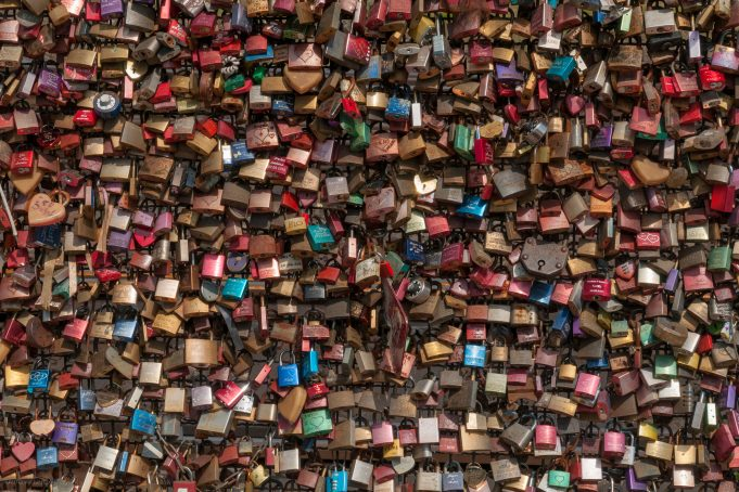 Love locks background texture