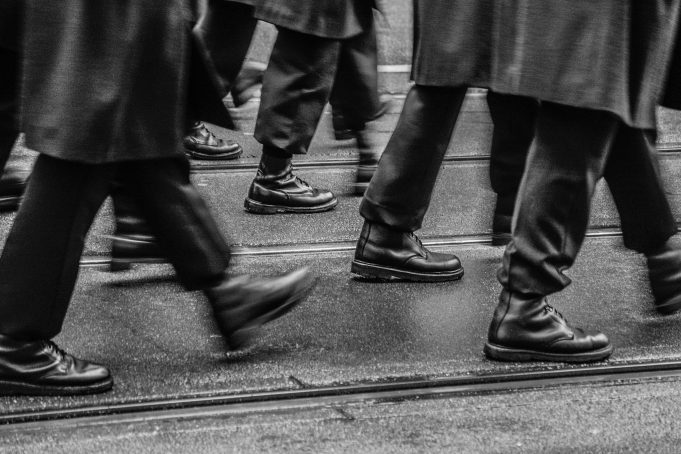 Marching feet black white