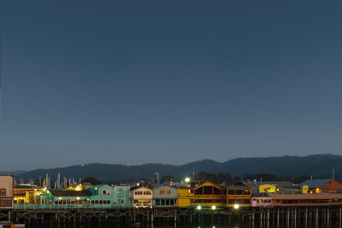 Monterey pier harbour lights dusk dawn moon