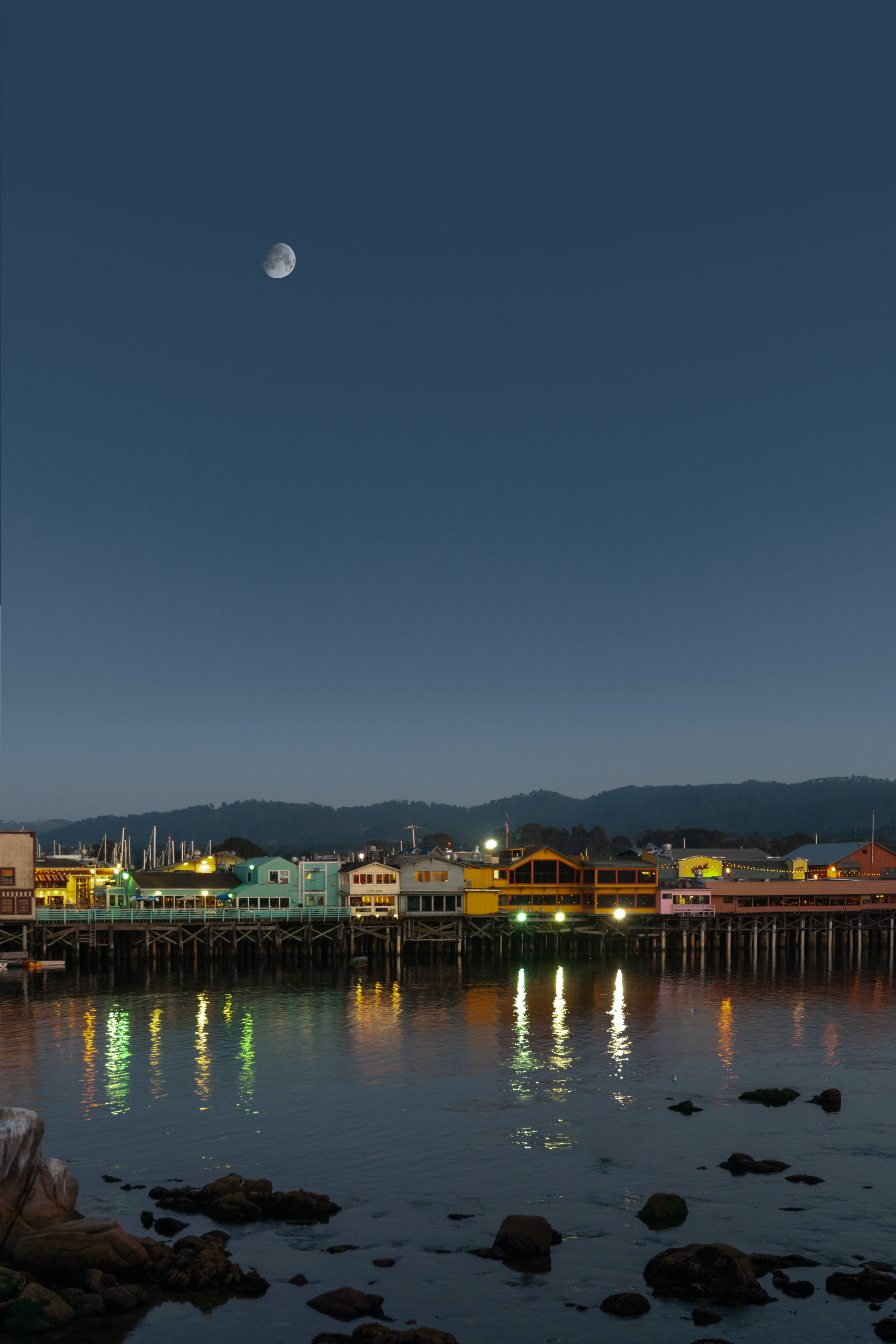 Monterey pier harbour lights dusk dawn moon