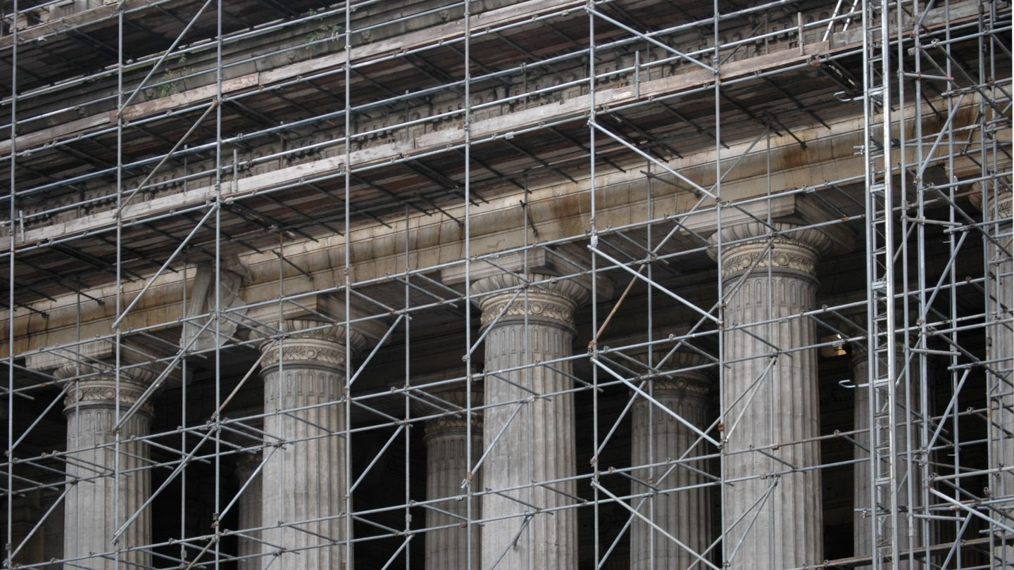 Monumental law courts of brussels under renovation