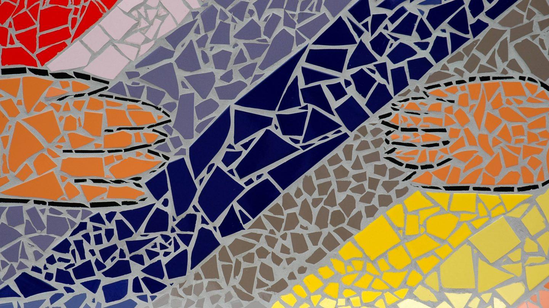 Mosaic tiles reaching hands