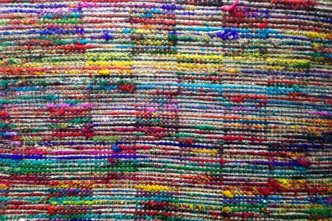 Multicolor woven rag rug