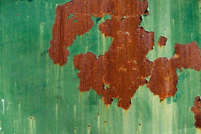 Old Worn Green Rusty Metal Door