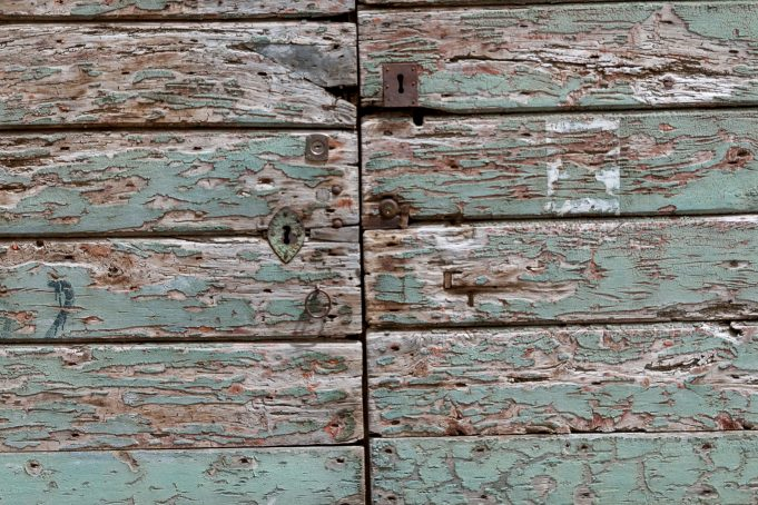 Old eroded wooden doors