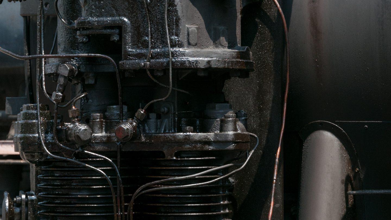 Old steam locomotive engine close up