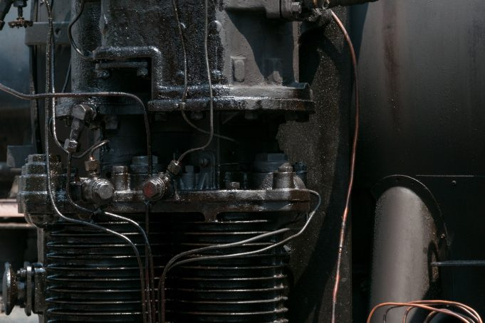 Old steam locomotive engine close up