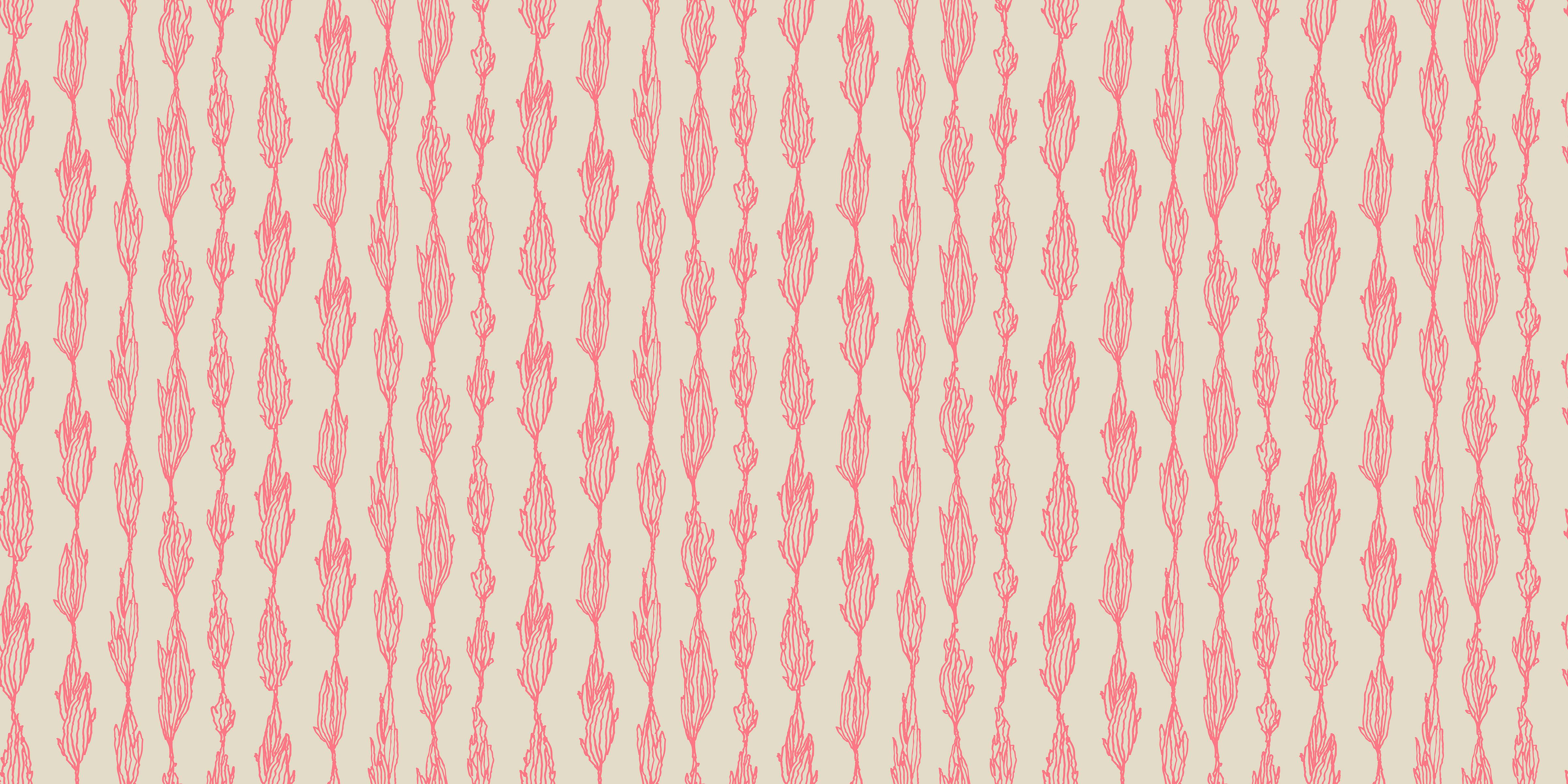 Organic leaves red ink drawings pattern