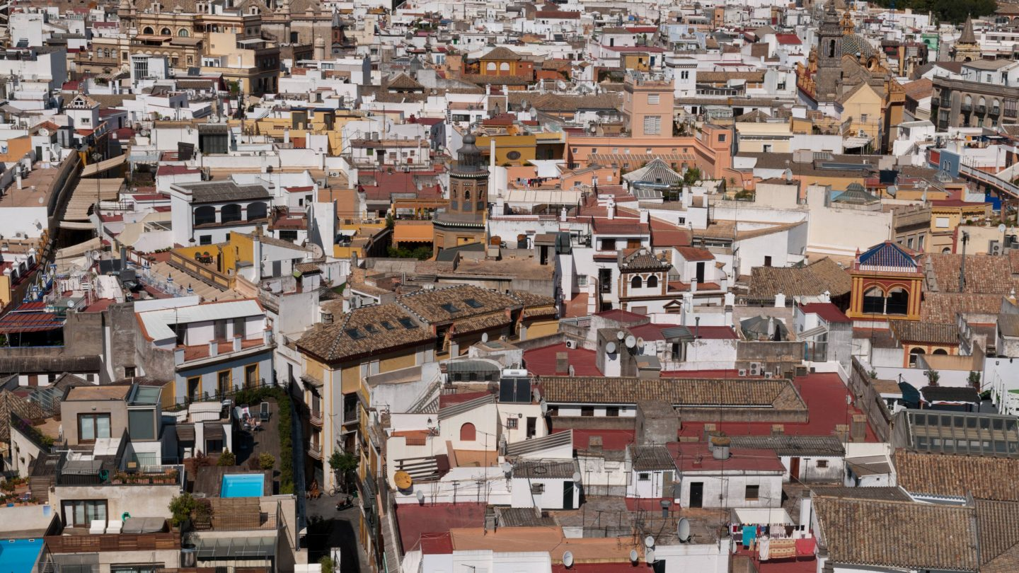 Panoramic view from the top of the Giralda Tower. Seville Spain