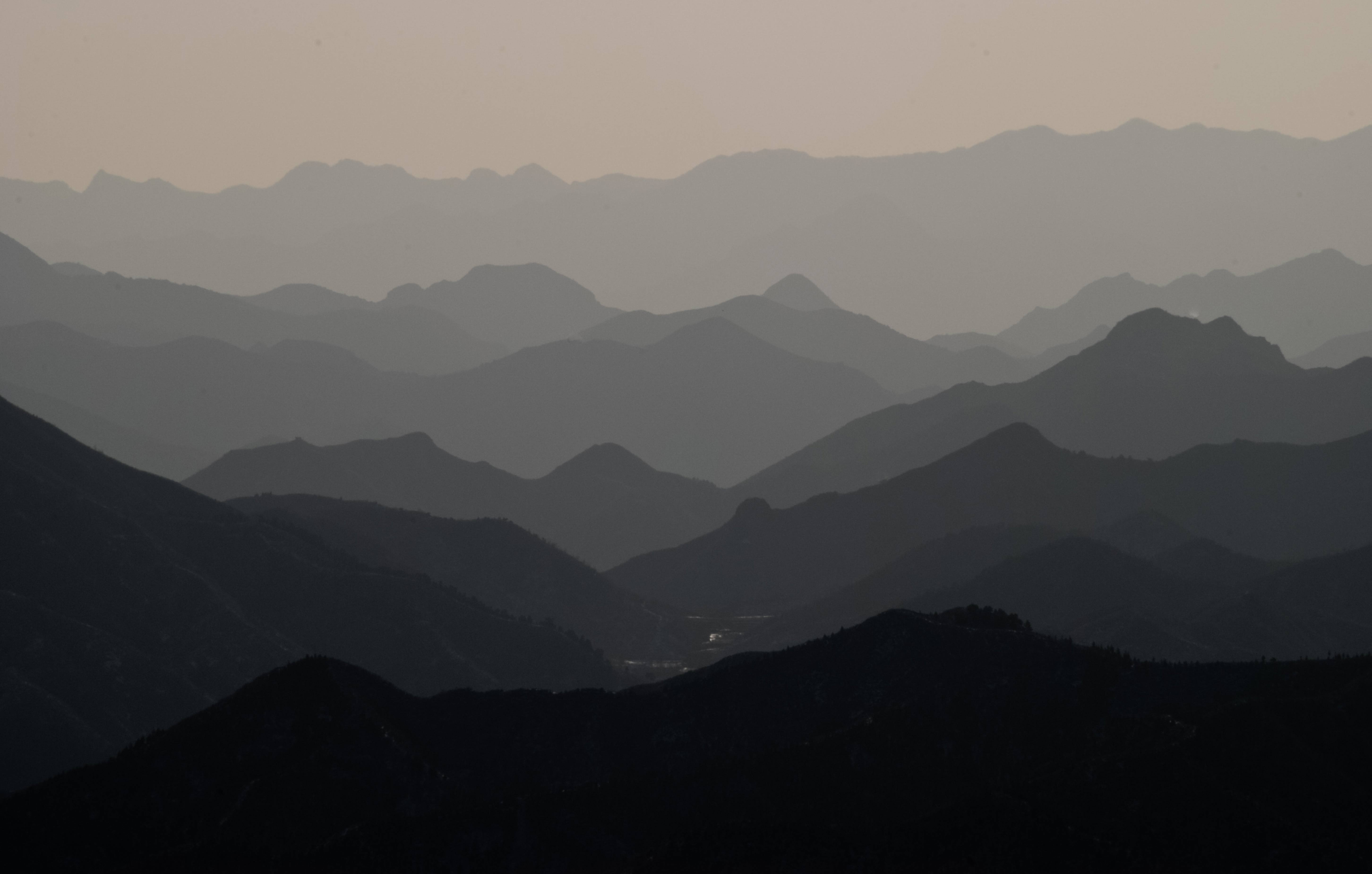 Simatai Mountains Landscape. Panoramic view as seen standing on the Chinese Wall