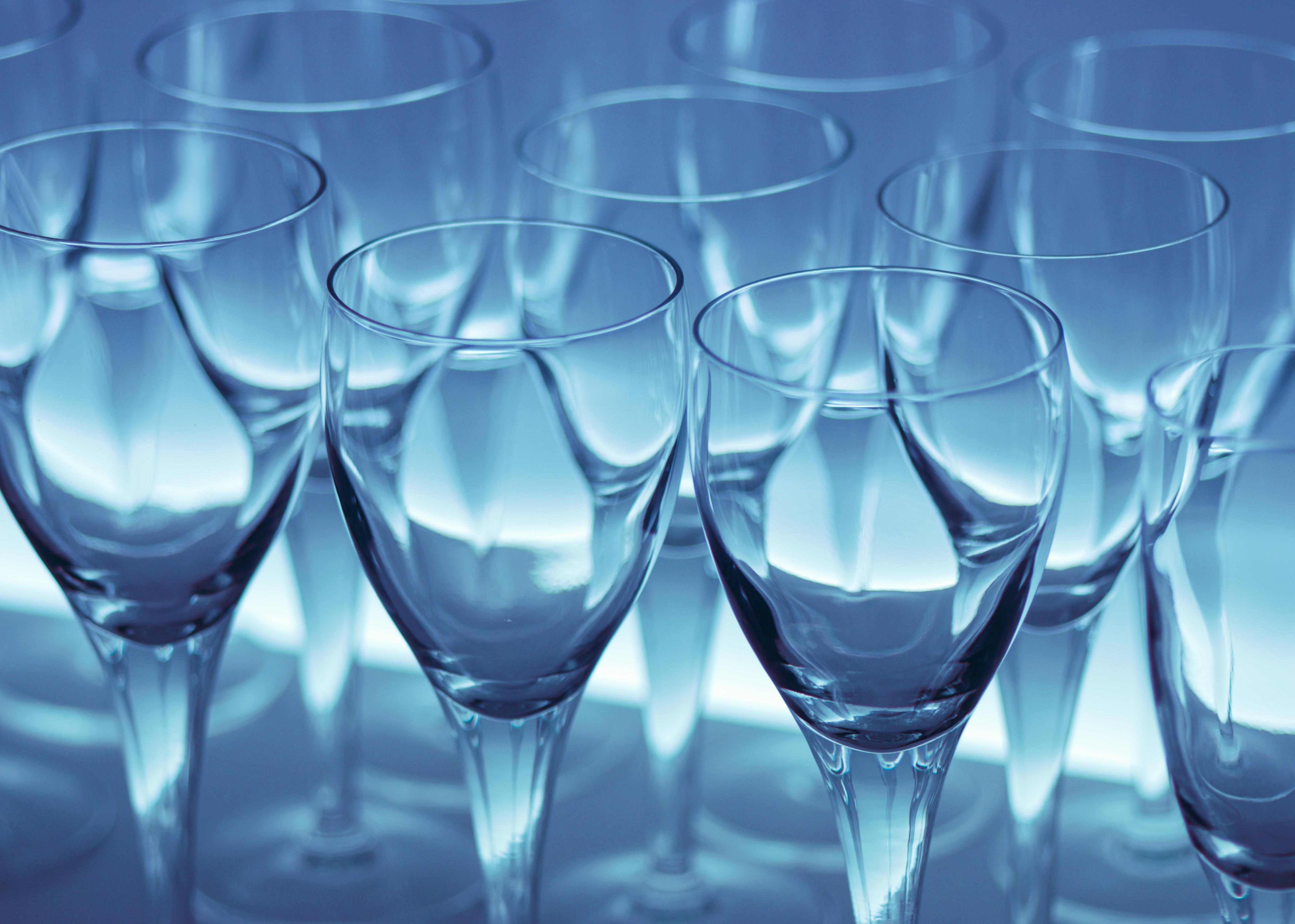 Wine Glasses in Blue Light