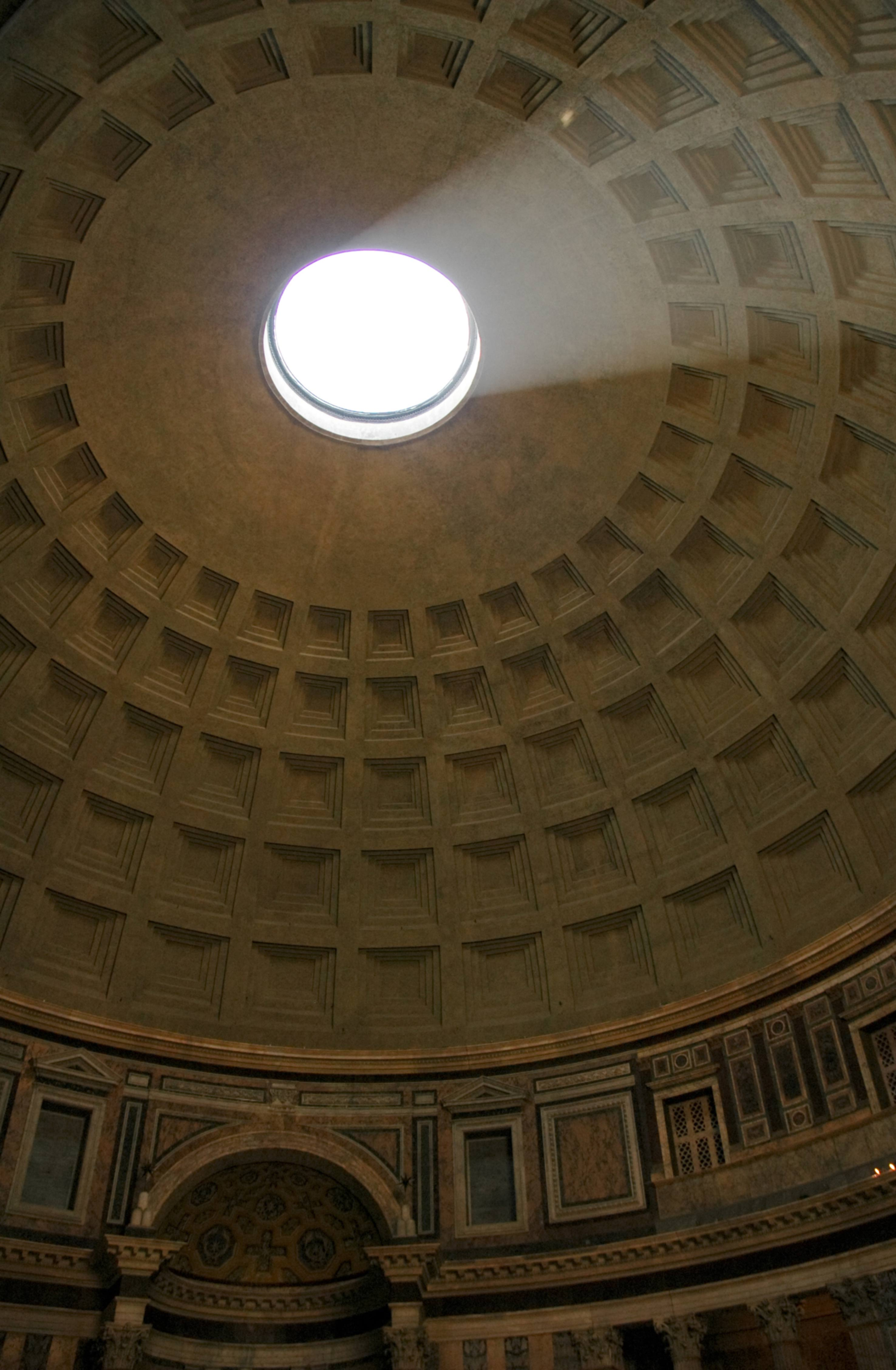 The Pantheon dome with an oculus admitting the only light.