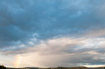 Subtle Rainbow on Mid-Level Clouds