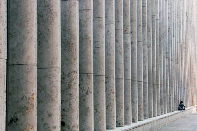 New York Building Wall of Pillars