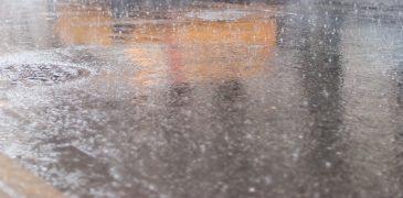 Yellow Cab Street Reflection Rain