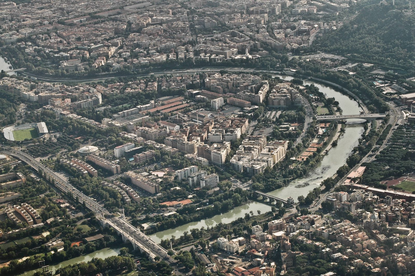 Rome from the sky light