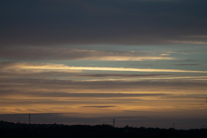 Beautiful Sunrise Striped Clouds Formation