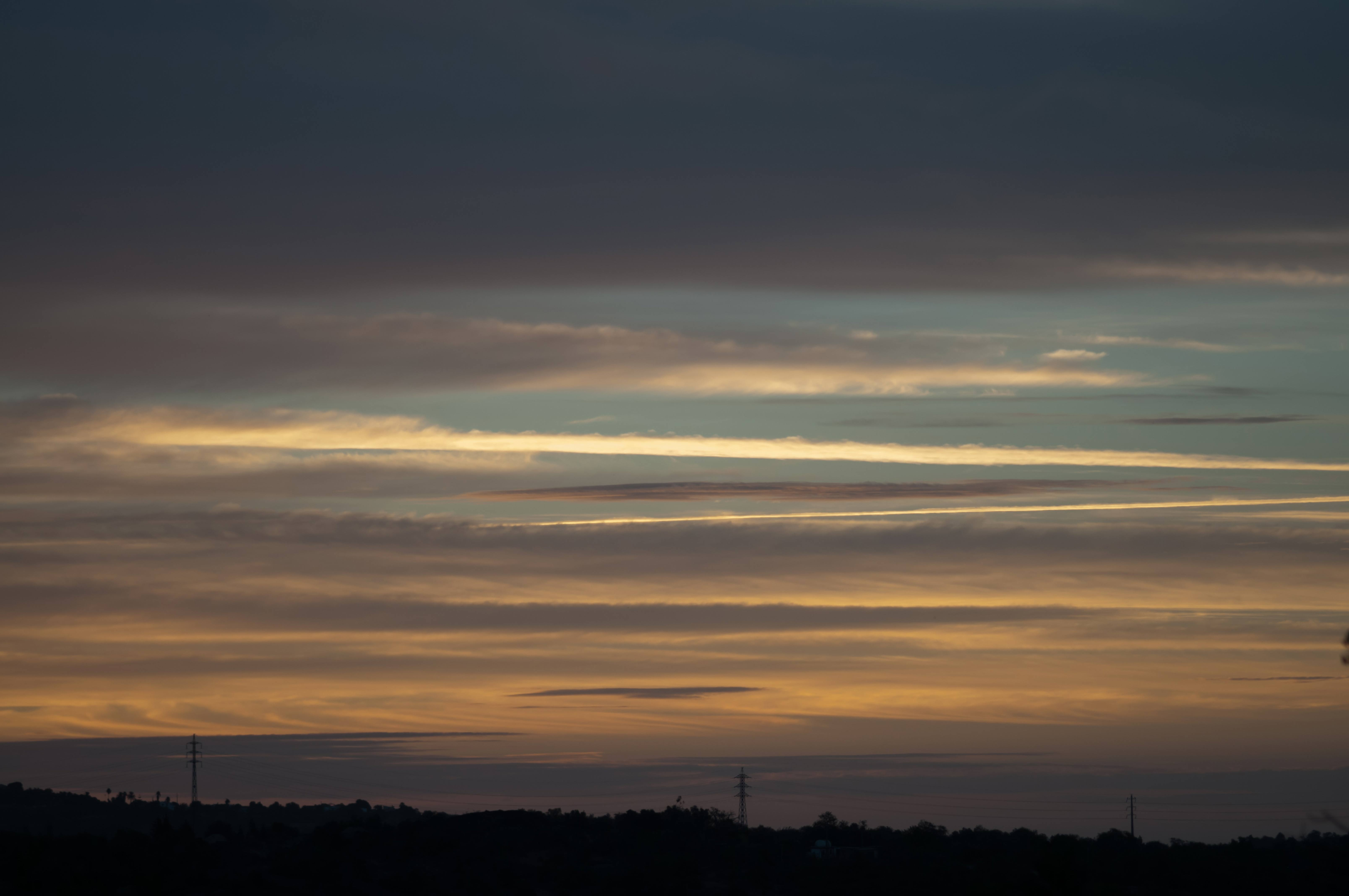 Beautiful Sunrise Striped Clouds Formation
