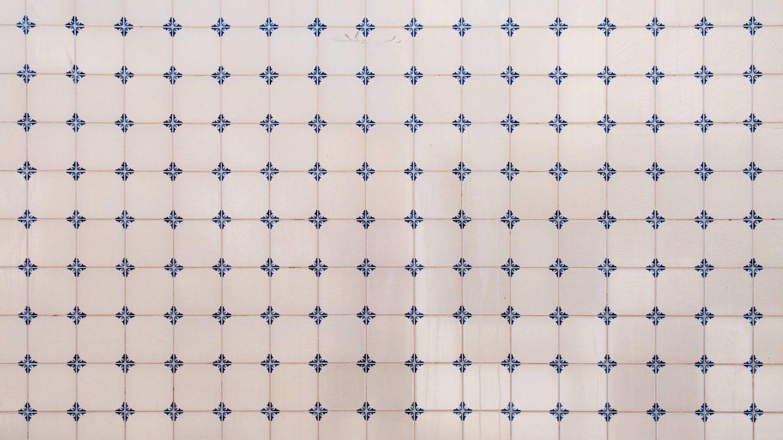 White ornament tiles white blue