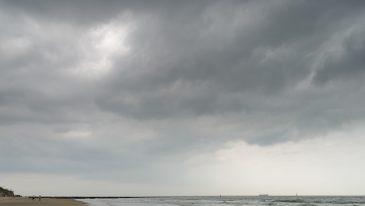 Dark clouds over the ocean